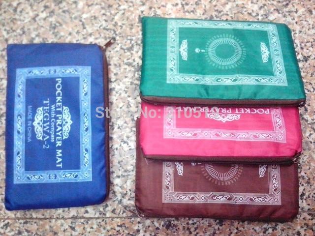 24 יח\חבילה שטיח תפילה מוסלמי משי גודל כיס protable נסיעות