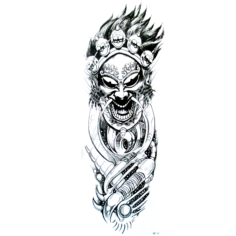 Robot Skull Temporary Tattoos Full arm Tatto Art body
