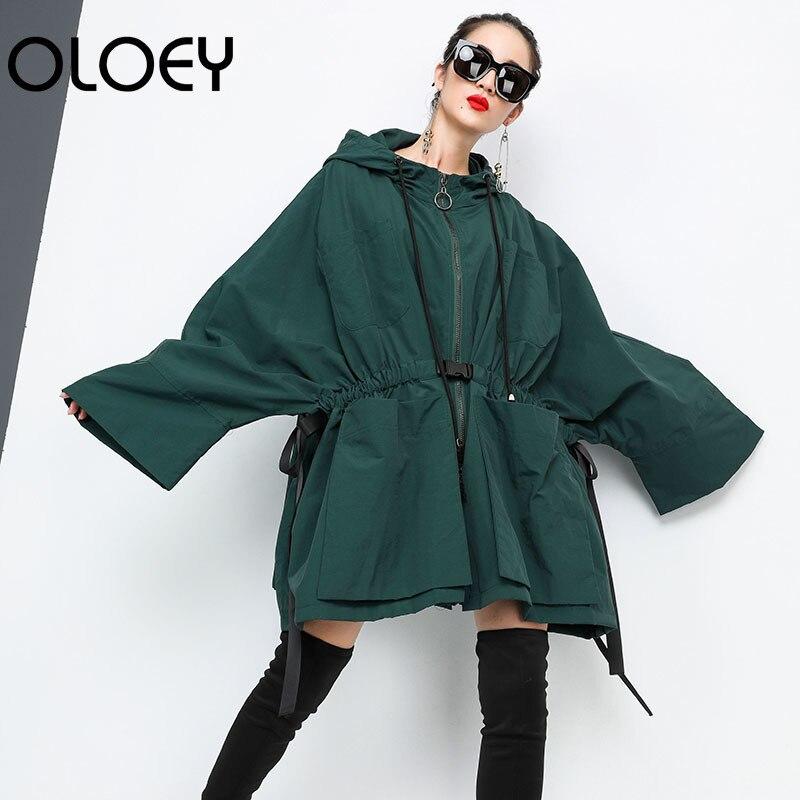 Femelle Veste Robe Nouvelle Hooded Type Black green Oversize Manteau De Manches Full Oloey2018 Mode Lâche Bawting Zipper J406 RqnvS6SP