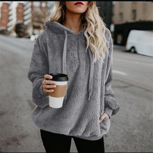 Women Winter Faux Fur Hoodies Pullover Oversized Warm Plush Sweatshirt Solid Casual Female Top Zipper Hoodie Outwear Trench(China)