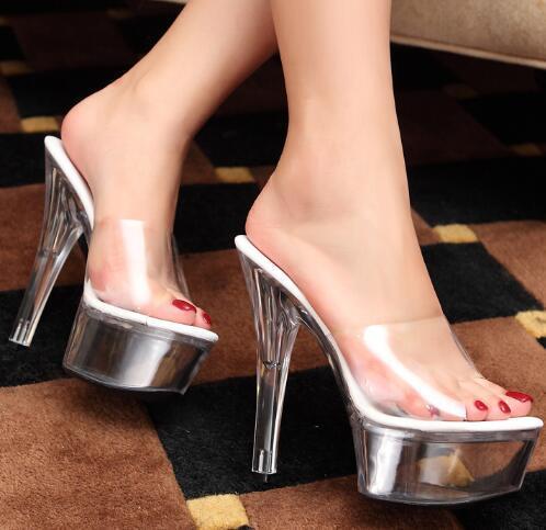 Transparent High Heels Platform Sandals Slipper Sexy Women Summer Shoes PVC Waterproof Jelly Shoes Slapping 13cm 15cm
