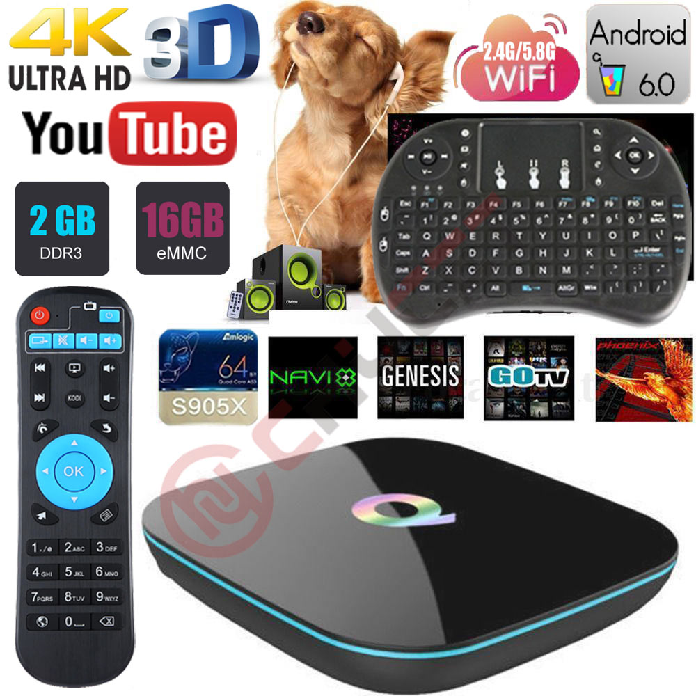 цены Q Box Android 6.0 TV Box Amlogic S905x Quad Core 2GB/16GB 2.4G/5GHz Dual WIFI 4K 3D H.265 Smart TV BOX Media Player PK X96