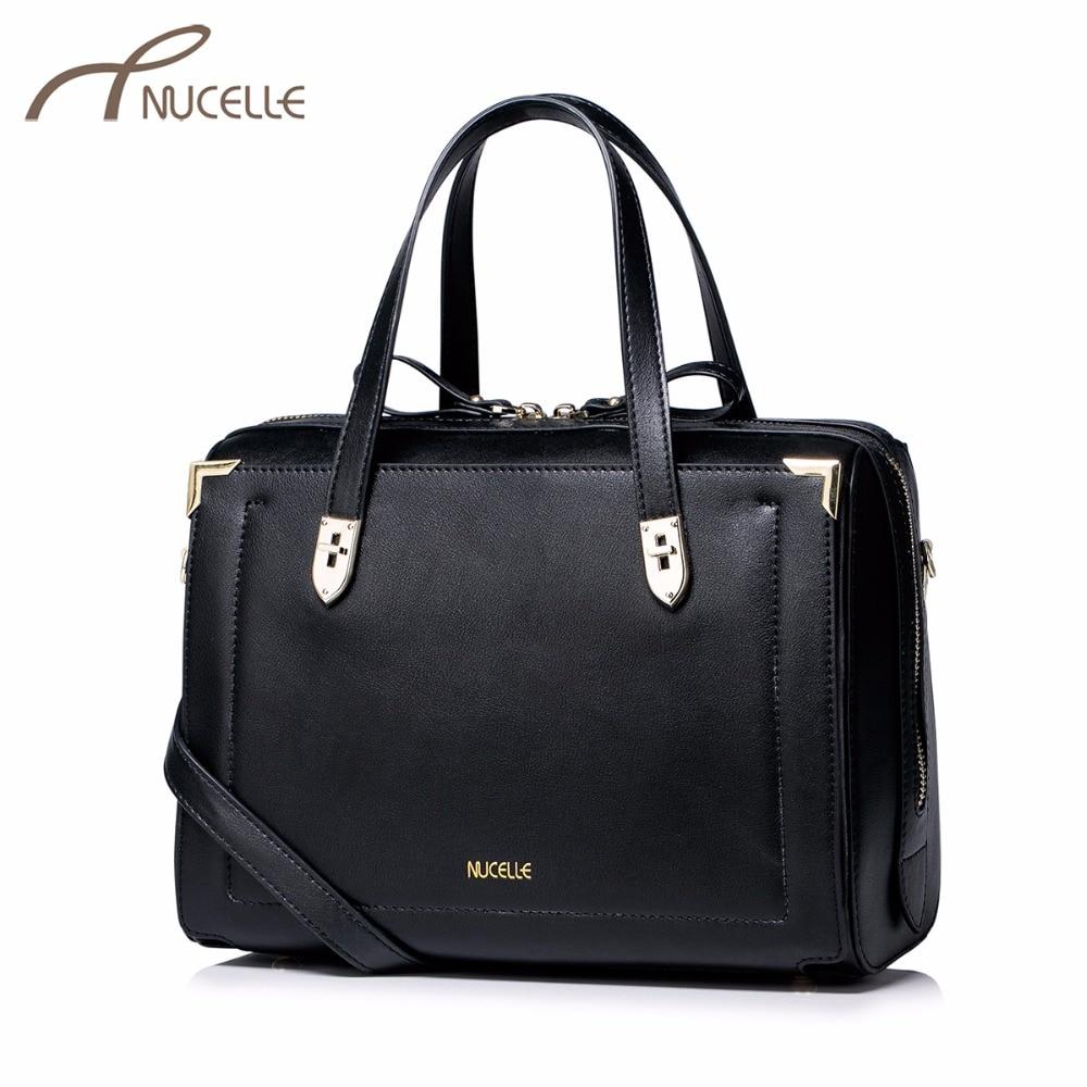 Nucelle Women Split Leather Handbag Casual Ladies Boston Leather Tote Messenger Purse Female Leisure Corssbody Bags NZ4933