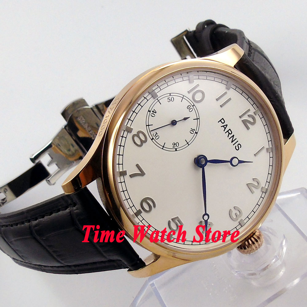 Parnis 44mm white dial golden case deployant clasp 6497 mechanical hand chain movement Men's watch 220