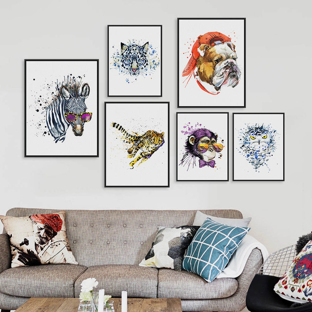 Watercolor Fashion Animals Head Zebra Lion A4 A3 Art Prints Poster Living  Room Wall Pictures Canvas