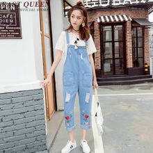 Embriodery denim jumpsuit kawaii women jumpsuit long casual loose jumpsuit women 2018 fashion jumpsuit romper AA2840 YQ(China)