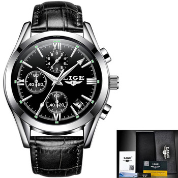 LIGE New Fashion Mens Watches Top Brand Luxury Military Quartz Watch Premium Leather Waterproof Sport Chronograph Watch Men 9