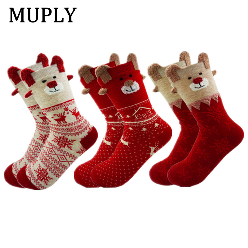 New 2018 Women   Sock   Winter Warm Christmas Gifts Stereo   Socks   Soft Cotton Cute Santa Claus Deer   Socks   Xmas Christmas   Socks   D038