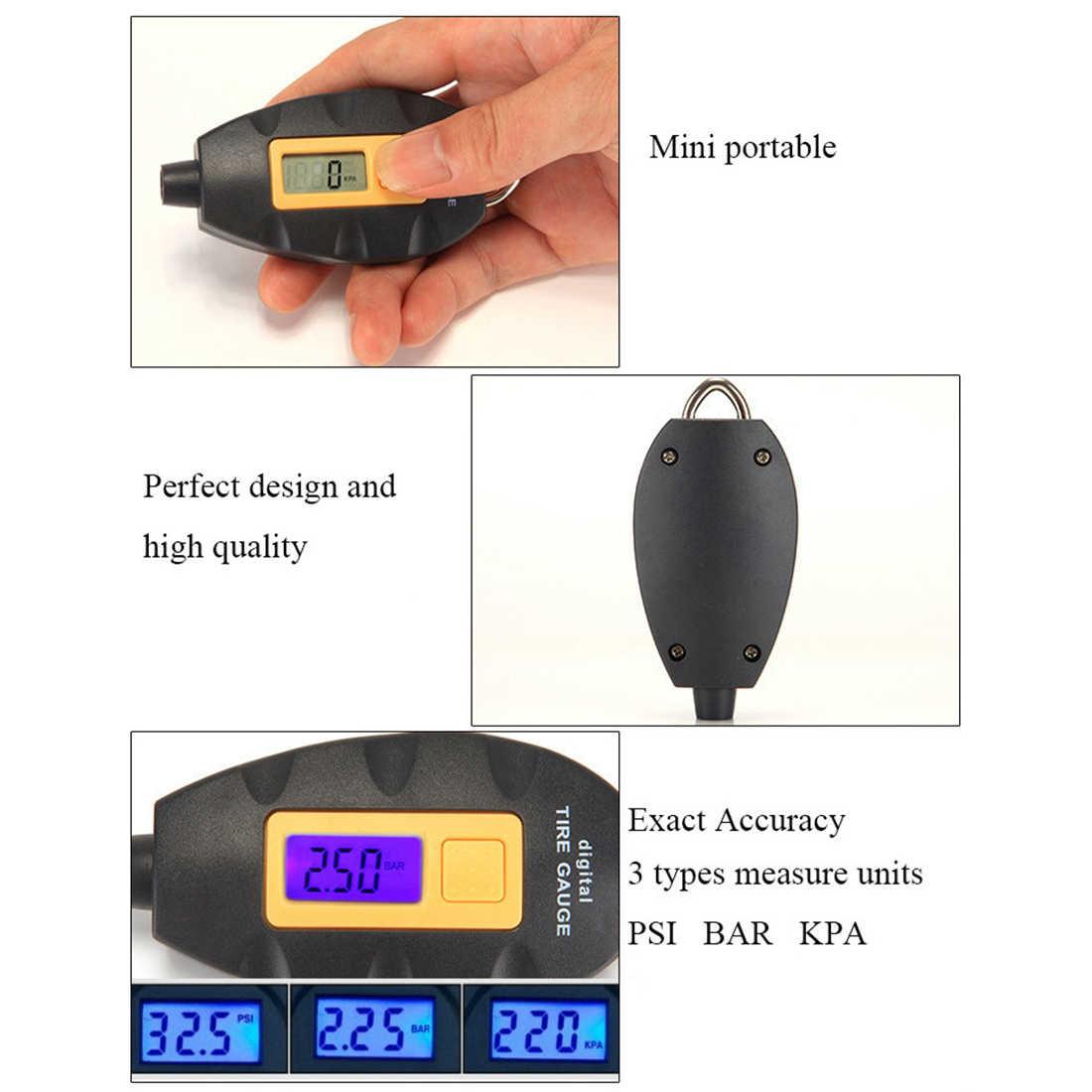 New LED Backlight Wheel Tire Tyre Air Pressure Gauge Tester Digital Auto  Meter Tool Vehicle Motorcycle Car 3-100 PSI KPA BAR