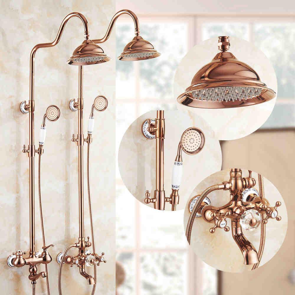 Vidric Shower Faucets Brass Luxury Rose Gold Wall Bathroom Shower System 8 inch Round Rainfall Head HandHeld Bathtub Mixer Ta