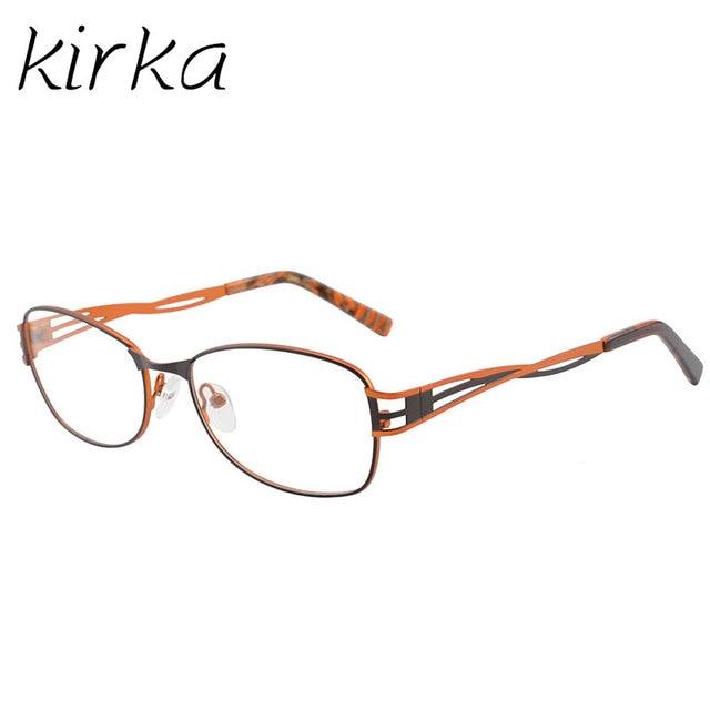 Kirka Metal Eyeglasses Frame Orange Women Computer Optical Vintage ...