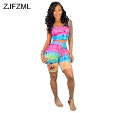 Rainbow Tie Dye Sexy Two Piece Outfit Summer Clothes For Women O Neck Sleeveless Tank Top And Biker Shorts 2 Piece Matching Set цены
