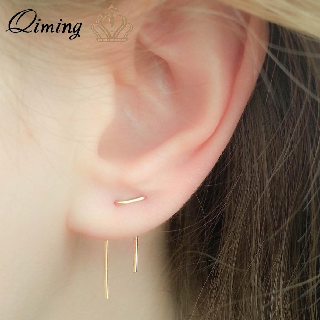 Us 0 64 50 Off Qiming Double Piercing Simple Earrings Lobe Gold Threader Two Hole Staple Long Women In Hoop