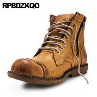 Booties Brown Boots Full Grain Leather Work Luxury Army Zipper High Top Working Ankle Men's Shoes Fall Combat Safety Military
