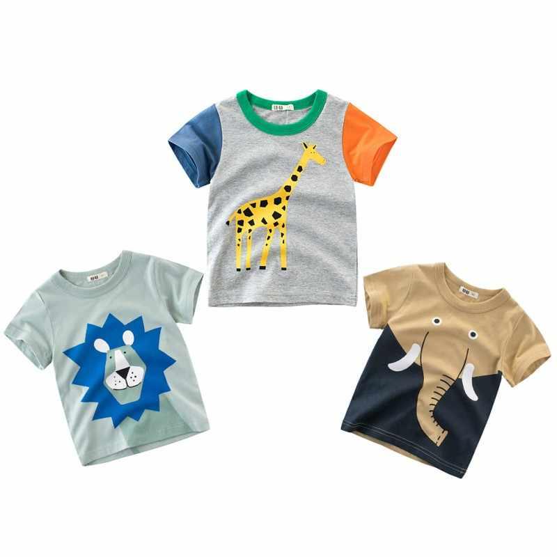 43c33fdb ... Summer Children Boy T-shirt Animal Print Short Sleeve Tee Shirts Kids  Elephant Lions Giraffe ...