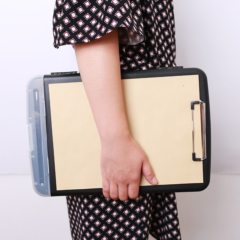 1PCS Black Classic Multifunctional File Organizer Plastic Clipboard Box File Case File Folder Pen Hold Office Supplies JB15