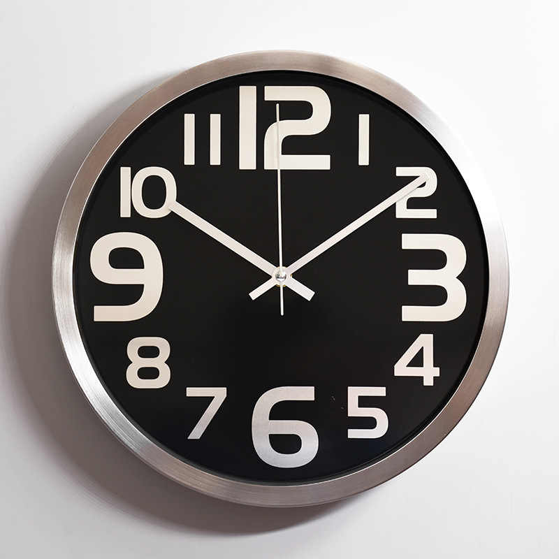 "12 ""Silent Wall นาฬิกา Quiet Sweep การเคลื่อนไหวโลหะกรอบนาฬิกาสไตล์โมเดิร์น Vintage ตกแต่งบ้าน Relogio de Parede saat"