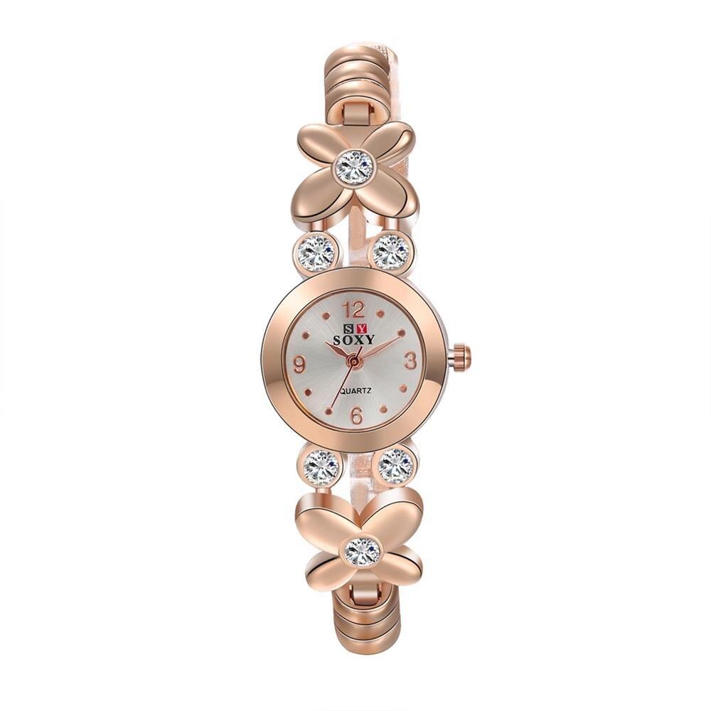 Женщины Розового Золота Браслет Смотреть Циркония Инкрустированный Кварцевые Наручные Часы