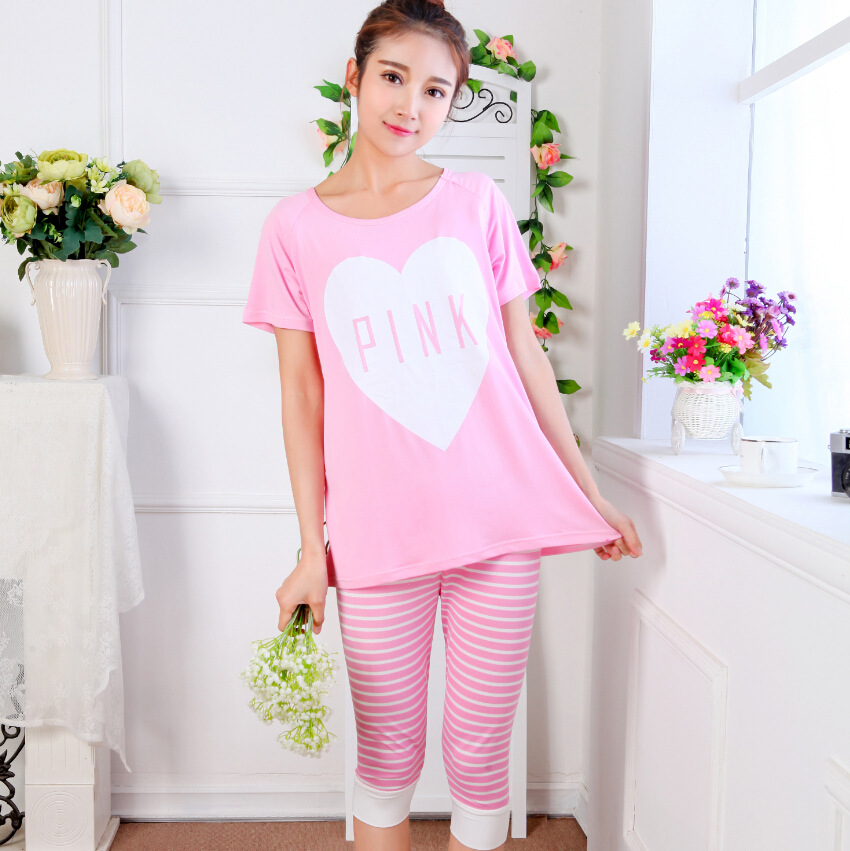 d5f133b30ce6 Summer New Cute Pink Pink Ladies Pajamas Short Sleeved Outside 5 Minutes Of  Pants Casual Leisurewear Suit To Wear-in Pajama Sets from Underwear    Sleepwears ...
