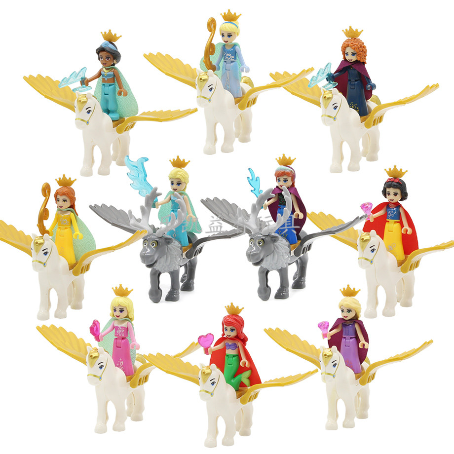 Friends Princess With Flying Horse Girls Figure Fairy Tale Queen Cinderella Snow White Anna Doll Model Building Blocks Toys Gift