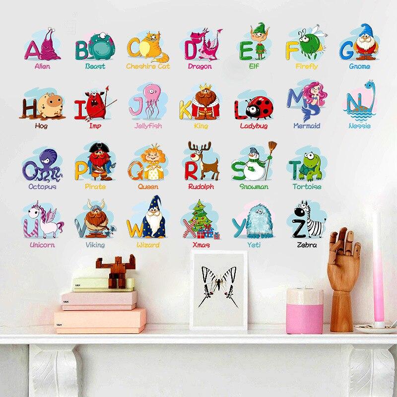 26 English Alphabet Stickers English Words Cartoon Animal Wall Furniture Stickers Children's Room Kindergarten Classroom Sticker