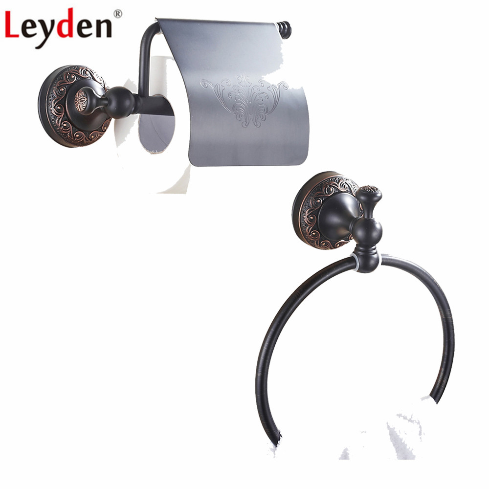Leyden Oil Rubbed Bronze Brass 2pcs Bath Hardware Sets Black Wall Mounted Towel Ring Holder Toilet Roll Paper With Cover
