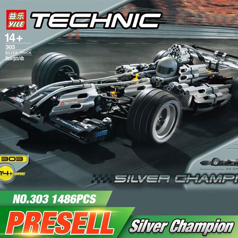 2017 1486Pcs Yile Technic Series The Ultimate Sliver Champion F1 Racing Car Set Educational Building Blocks Bricks Boy Toys 8458