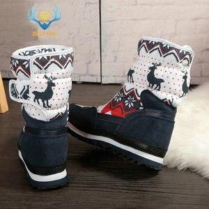 Image 2 - Vrouwen winter laarzen Lady warme schoenen sneeuw boot 30% natuurlijke wol binnenzool koe suède teen plus size 35 41 kerst Herten gratis verzending