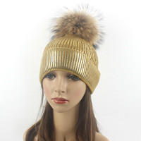 Real Raccoon Fur Pom Poms Warm Winter Hat For Women Hipster Cool Girl S Wool Hat