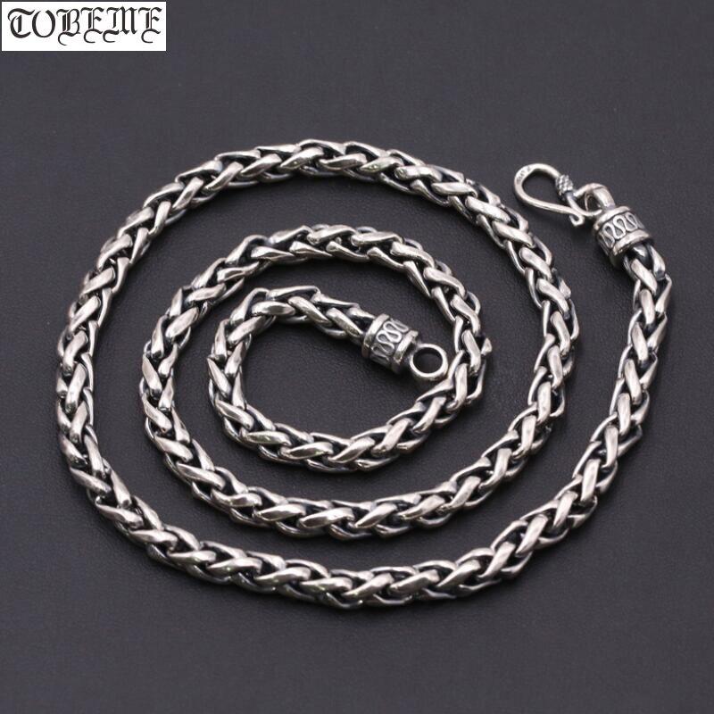 6MM 100 925 Silver Necklace Vintage Thai 925 Sterling Longevity Neckace Man Necklace