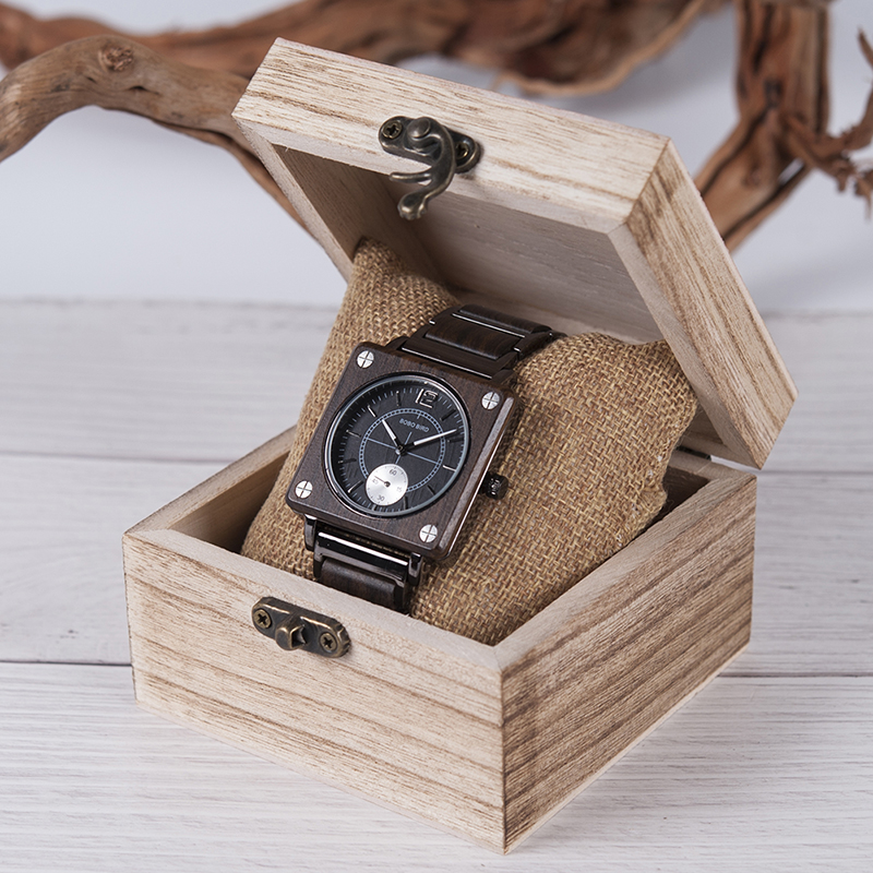 Image 5 - marque de luxe BOBO BIRD Wooden Men Square Watches Luxury Quartz Personalized Wood Watch Gifts for Men relojes de marca famosa-in Quartz Watches from Watches