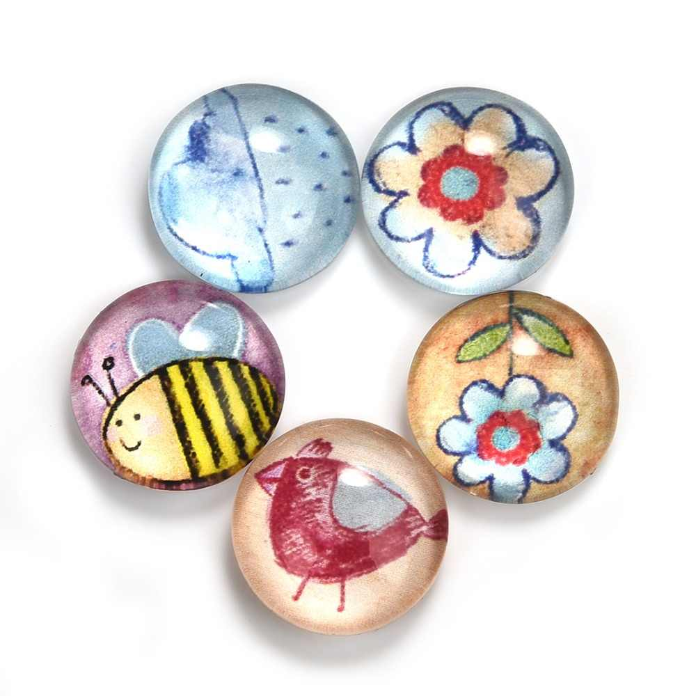5Pcs/Lot Cartoon Flower Bird Pattern Round 12mm Glass Cabochons Dome Flat Back for Jewelry Making Handmade DIY Pendant Findings