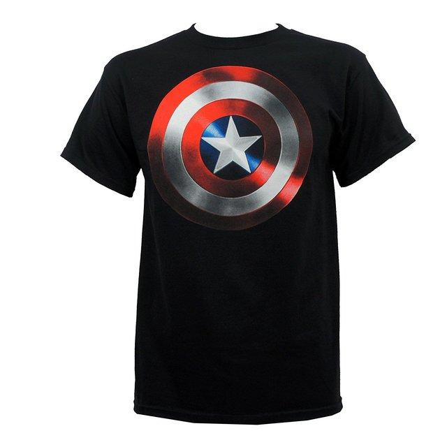Tendência Autêntica Arma de Defesa do THE AVENGERS Capitão América Escudo T-Shirt S-2XL NEW Adultos Casual Camiseta