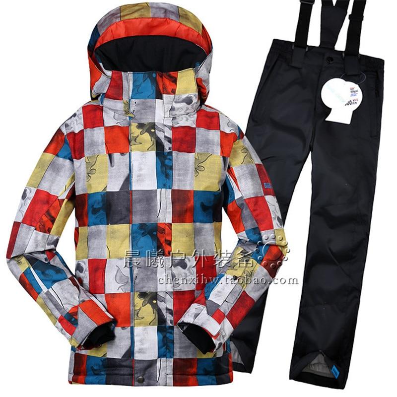 GSOU SNOW enfants garçons ensemble de vêtements d'hiver veste de Ski + pantalon combinaison de neige-20-30 degrés costume de Ski imperméable pour enfants en plein air - 3