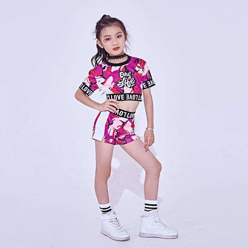New Jazz Dance Costume For Girls Cheerleader Dancing Hip Hop Costumes Kids Dancewear Tops Shorts 2