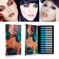 2017 New Pretty Huamianli 12 Colors/1Set Holographic Lip Gloss Metallic Diamond Lasting Lipstick Beauty Makeup Liquid Lipstick