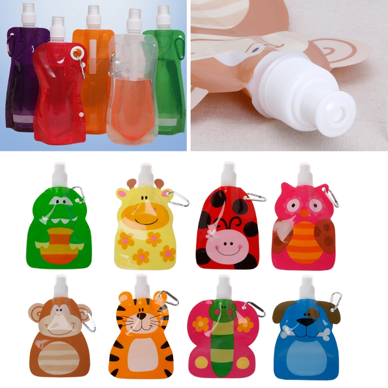 BABY Solid Feeding Dishes 360ml Eco Friendly Foldable Cartoon Water Bag Drinkware Travel Drink Bottle Safe For Kids Children