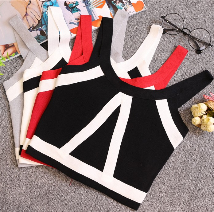 Summer Women Fashion Slim Knitting Tank Crop Tops Female Bodycon Knitted Camisole Sleeveless Short Geometric T shirts  8201