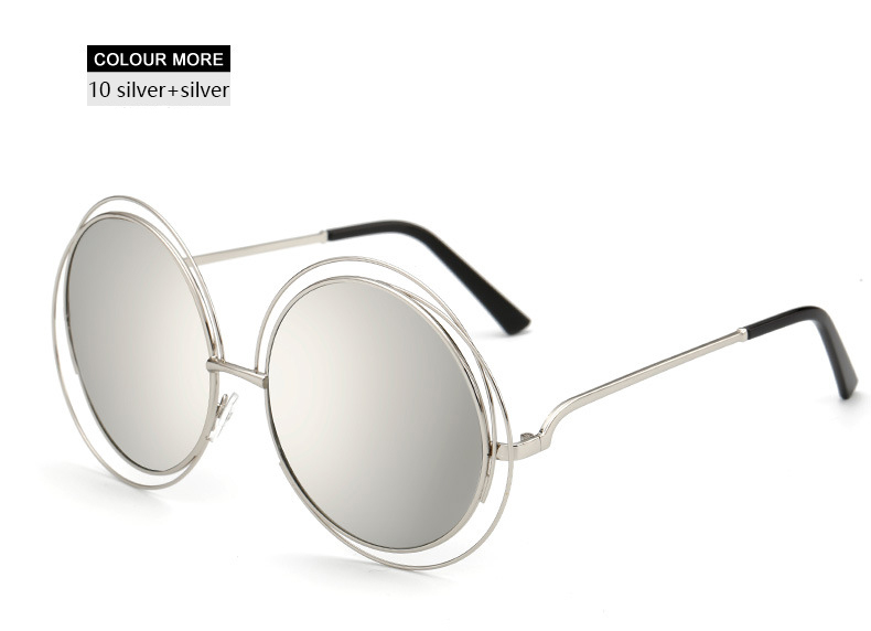 8aa657abc68d46 HapiGOO Fashion Steam Punk Oversize Round Sunglasses Women Vintage Big  Metal Frame Brand Designer Female Retro mirror Eyewear -in Sunglasses from  Apparel ...