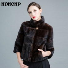 HDHOHP 2017 New Real Mink Fur Coats Of Women Genuine Good Quality Fur Vest Warm Winter Natural Mink Fur jackets