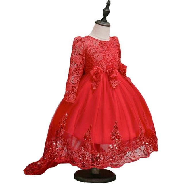 Girls Dress Flowers Girl Clothes long Sleeve Vestidos Bridesmaid Children Dress Red Princess Dress for Girls New Year Custumes