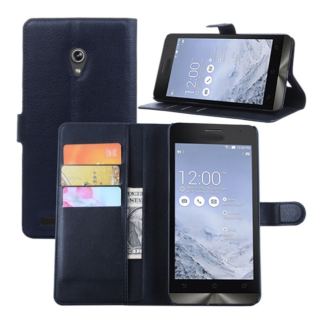 Cyboris cover For Asus Zenfone 6 A600CG T00G A601CG Flip Lichee Holster PU Leather with card slot holders stand function