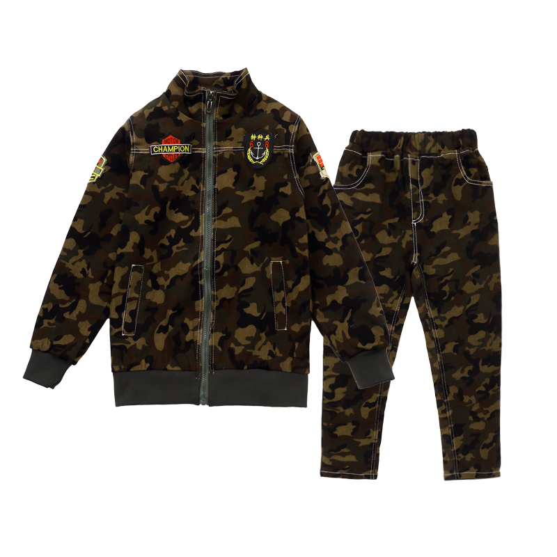 Boys Spring Camouflage Clothing Set 2 Pcs for Big Kids Jacket Pants Sports Suits for Boys Clothes Uniform