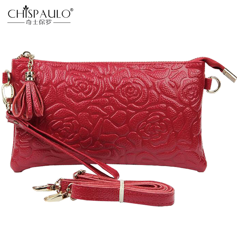 2017 Genuine Leather Fashion Women Crossbody Bags Embossing Flowers Soft Cowhide Ladies Messenger Bags Zipper Shoulder Bag SH281