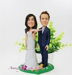 2019 niesamowite ciasto TOPPER zabawki słodkie i miłości para i pan młody pomysły na prezenty dostosowane figurka walentynki|Posągi i rzeźby|   -