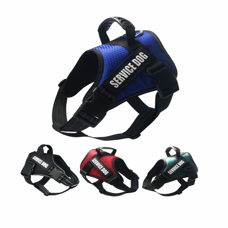 Dog Harness Vest Reflective Breathable Mesh Service Pet Dog Vests NO Pull Handle Control Harness For Dog Breeds Training Walking