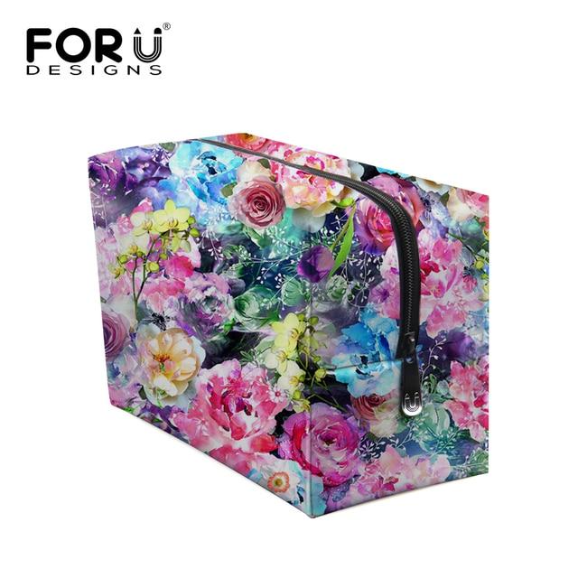 2017 Multifunction Women Make Up Cosmetic Bag Case Flower Print Ladies Makeup Bag Toiletries Floral Female Travel Organizer Case