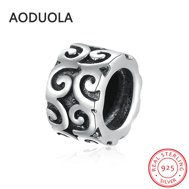 af5aff518 925 Sterling Silver Cylinder Beads with Lace DIY Charms Round Big Hole Bead  Charm Fit For Original Pandora Bracelet and Necklace