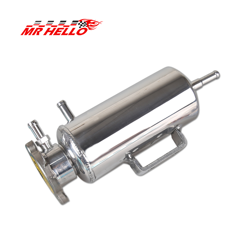 Universal Car Racing Oil Catch Radiator Breather Tank Kit Reservoir Can Silver