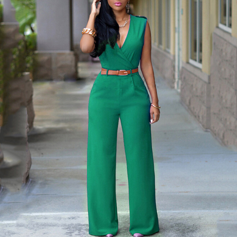 White   Jumpsuit   Long Pants For Women Rompers Sleeveless V -Neck 2018 Summer Wide Leg Jumpsuirt With Belt Sexy Club Party